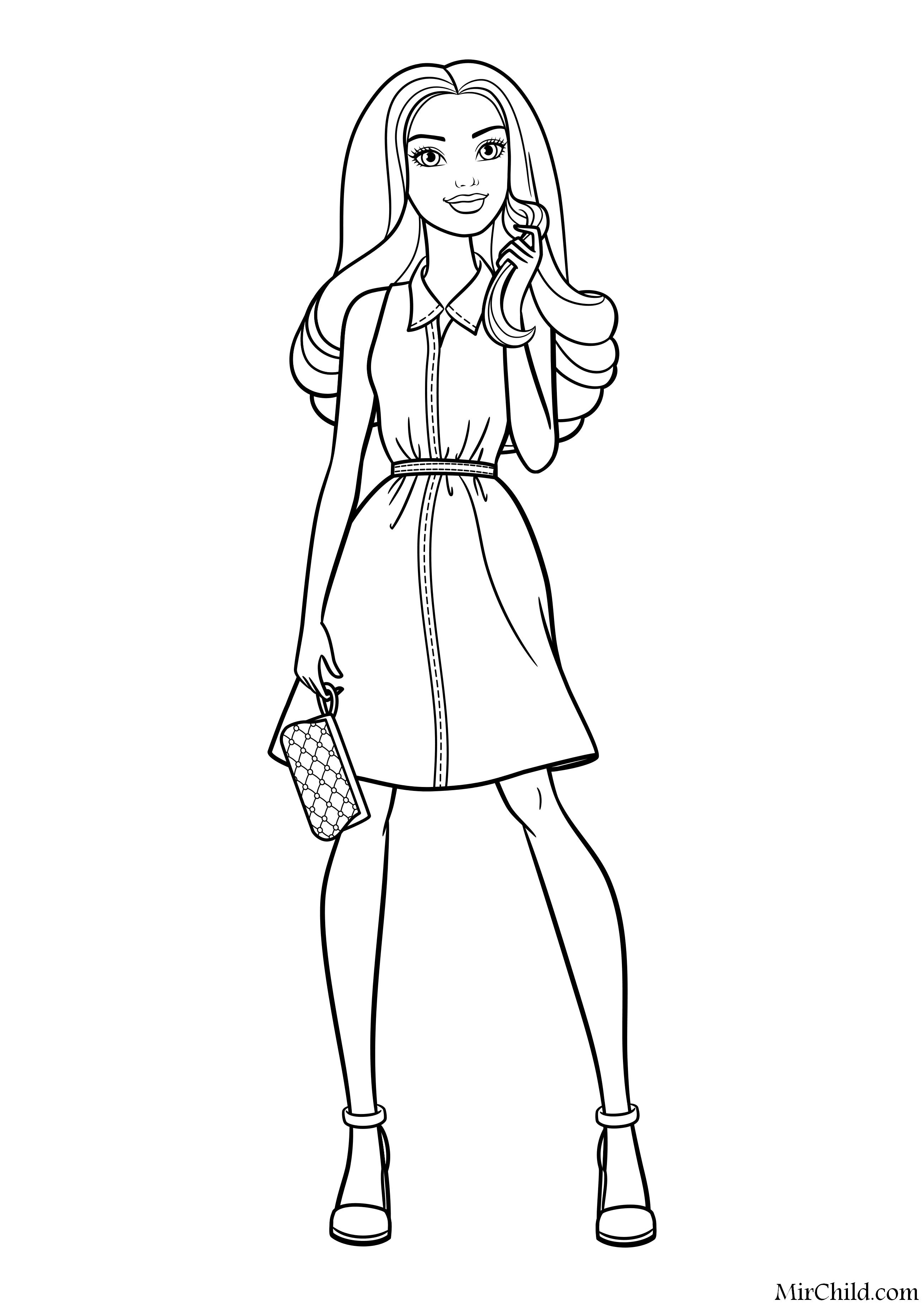 Раскраска - Барби - Барби - деловая девушка | MirChild