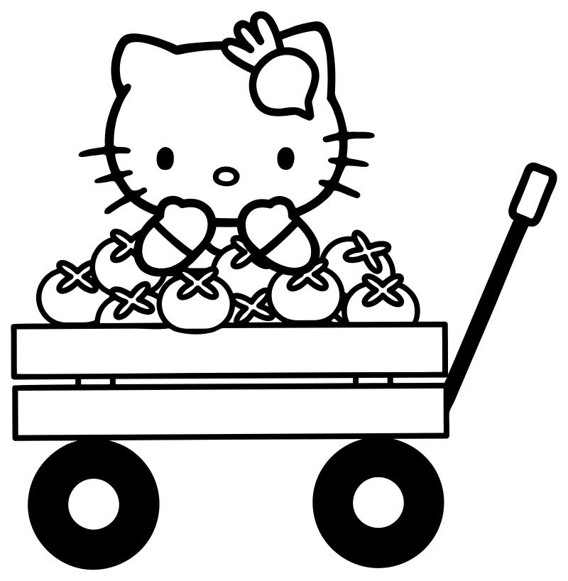 Раскраска - Хелло Китти - Китти на тележке с овощами