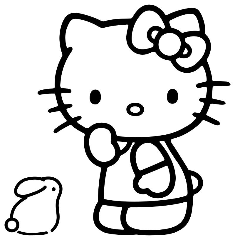 Раскраска - Хелло Китти - Китти и маленький зайчик
