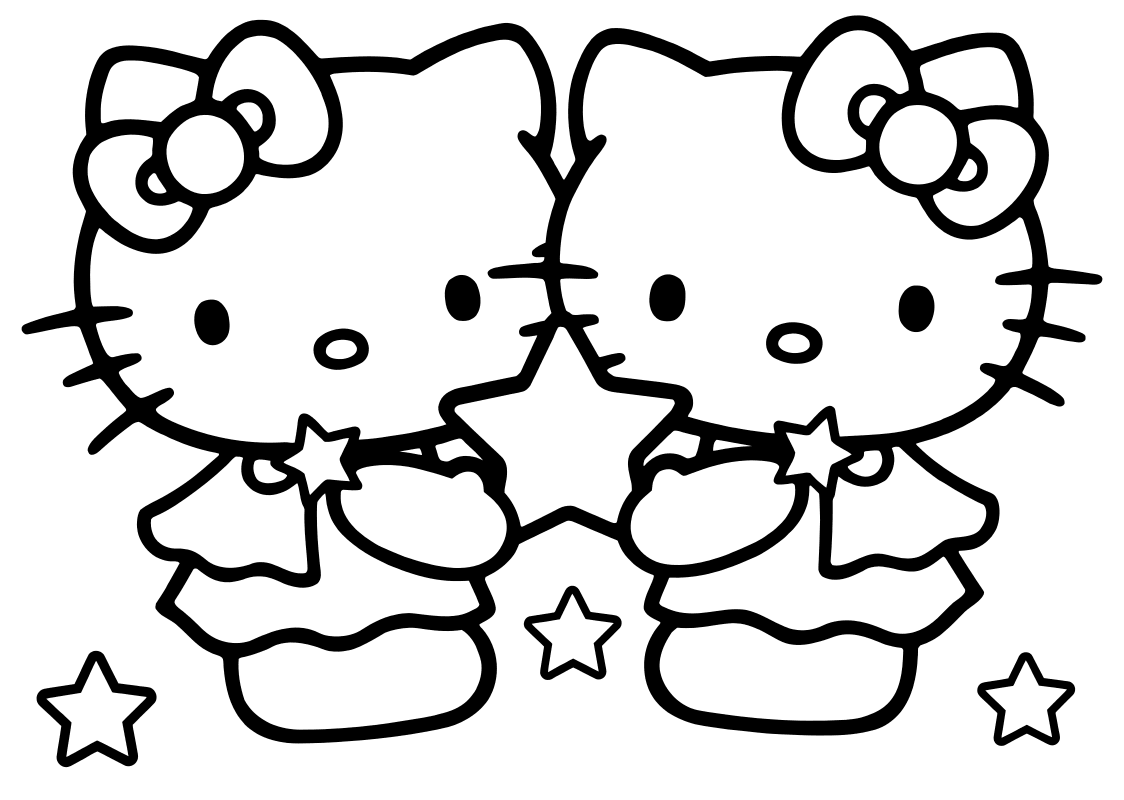 Раскраска - Хелло Китти - Китти с подружкой