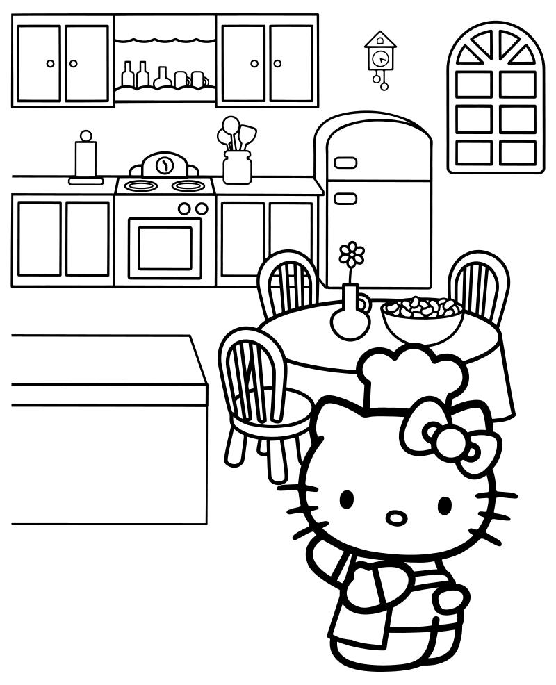 Раскраска - Хелло Китти - Китти повар на кухне