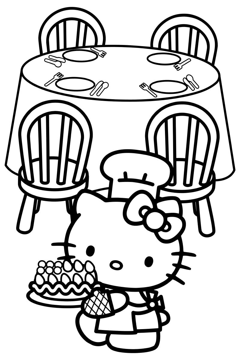 Раскраска - Хелло Китти - Китти приготовила торт