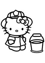 Раскраска - Хелло Китти - Китти и ведро