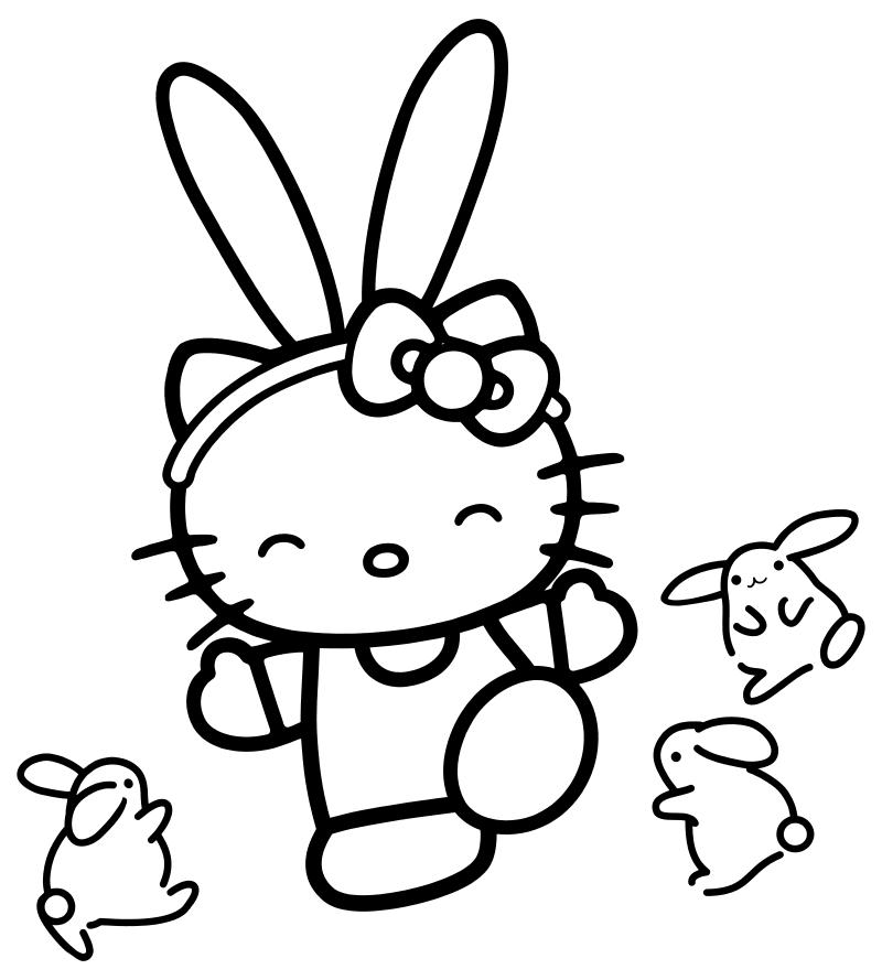 Раскраска - Хелло Китти - Китти с маленькими зайчиками