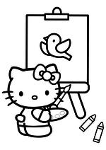 Раскраска - Хелло Китти - Китти нарисовала птичку