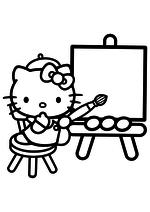 Раскраска - Хелло Китти - Китти думает что нарисовать