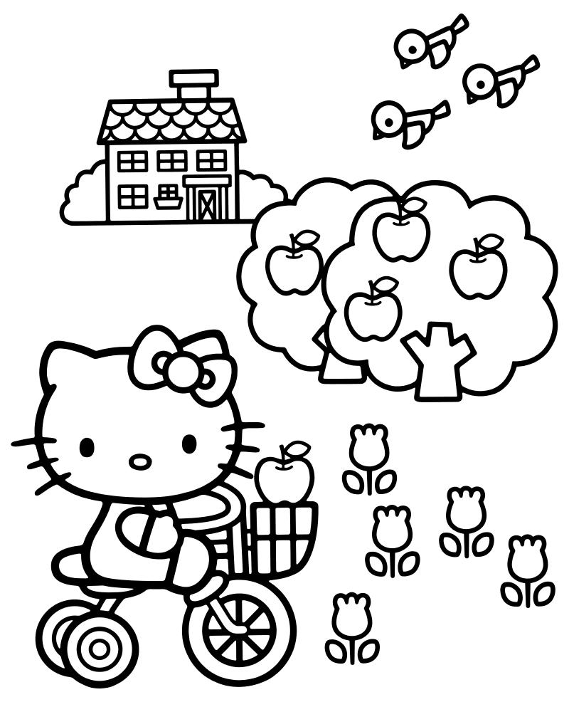Раскраска - Хелло Китти - Китти на велосипеде в саду