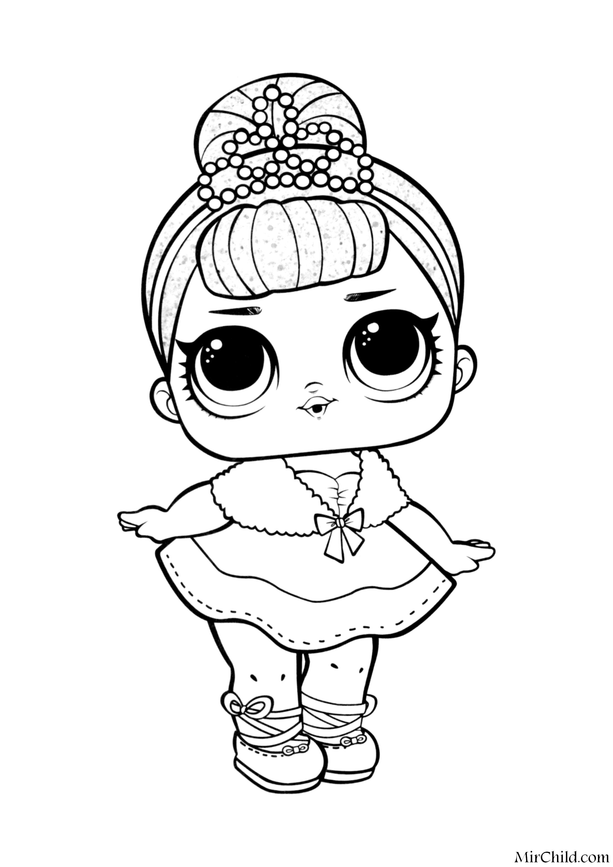 Раскраска - Куклы ЛОЛ - Королева Кристалл | MirChild