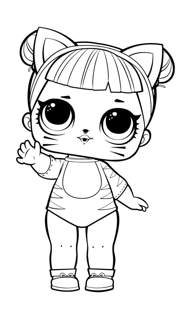 Раскраска - Куклы ЛОЛ - Леди Кошка | MirChild