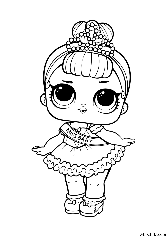 Раскраска - Куклы ЛОЛ - Мисс Беби | MirChild