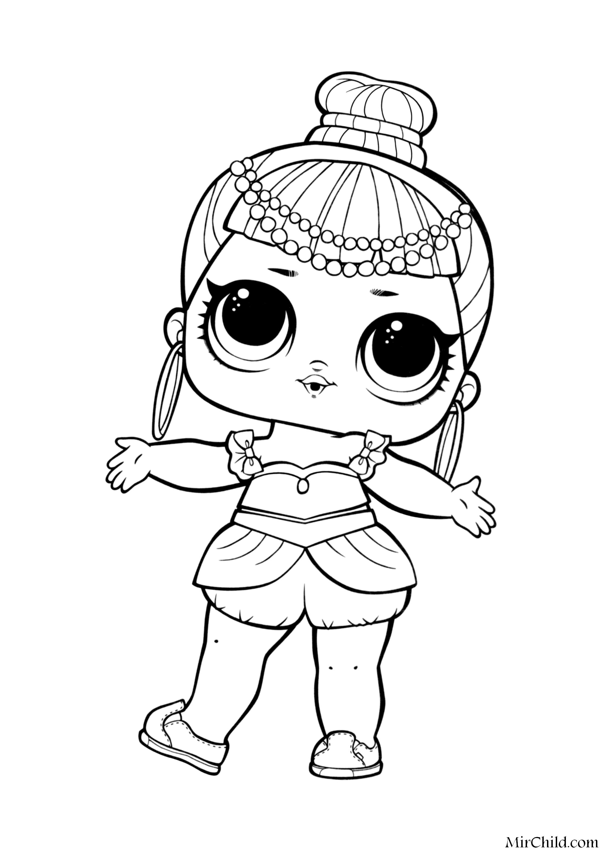 Раскраска - Куклы ЛОЛ - Индийская Принцесса | MirChild