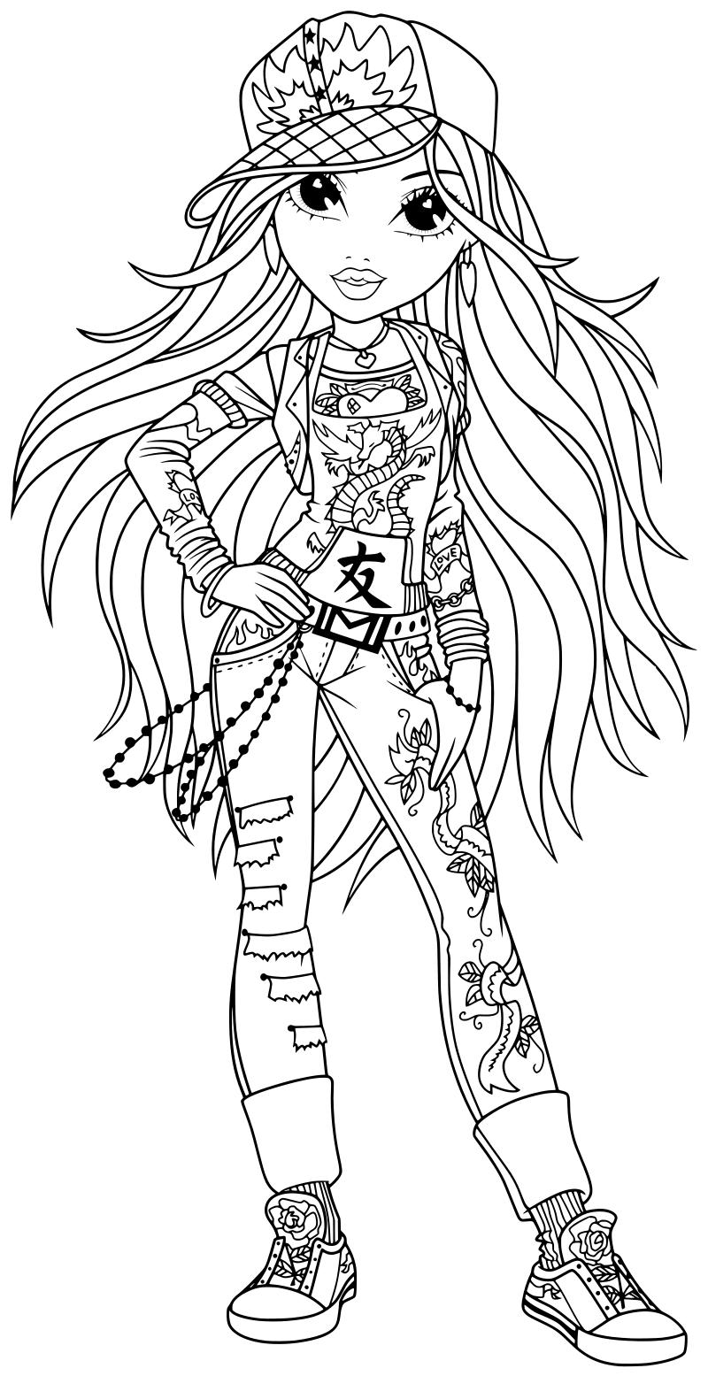 Раскраска - Куклы Мокси - Эйвери в джинсах и кепке | MirChild