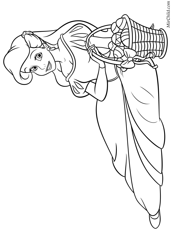 Раскраска - Принцессы Диснея - Ариэль и Пасхальная корзина ...