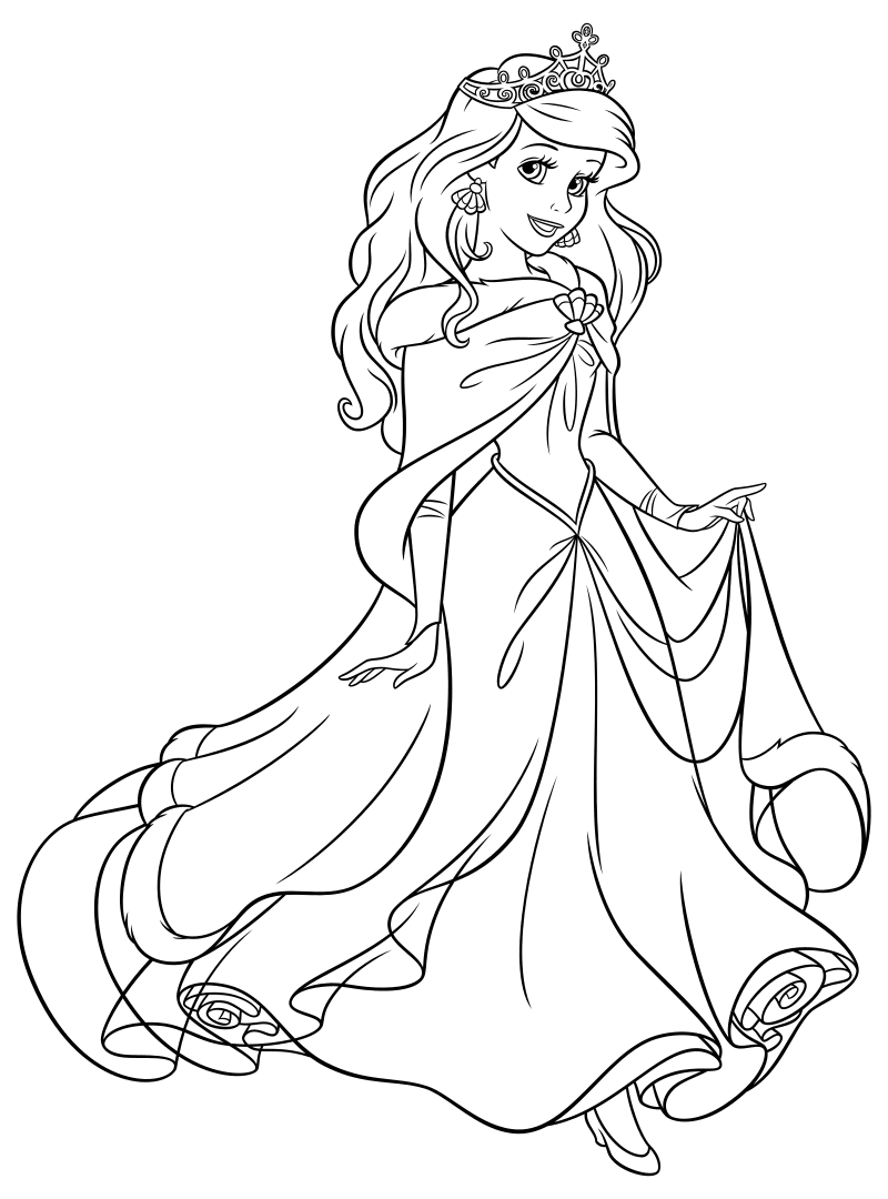 раскраска принцессы диснея ариэль с короной Mirchild