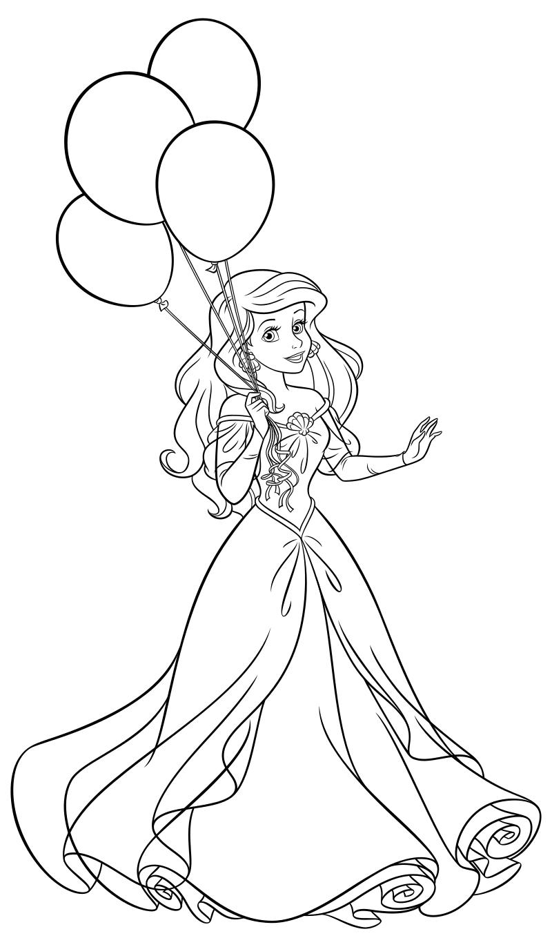 Раскраска - Принцессы Диснея - Ариэль с воздушными шарами ...