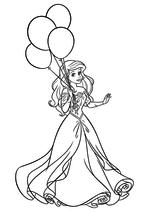 Раскраска - Принцессы Диснея - Ариэль с воздушными шарами