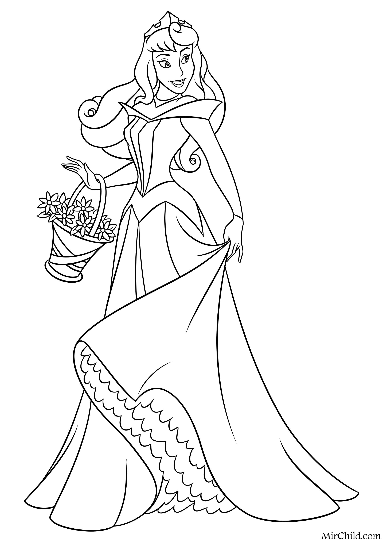 Раскраска - Принцессы Диснея - Аврора с корзиной цветов ...