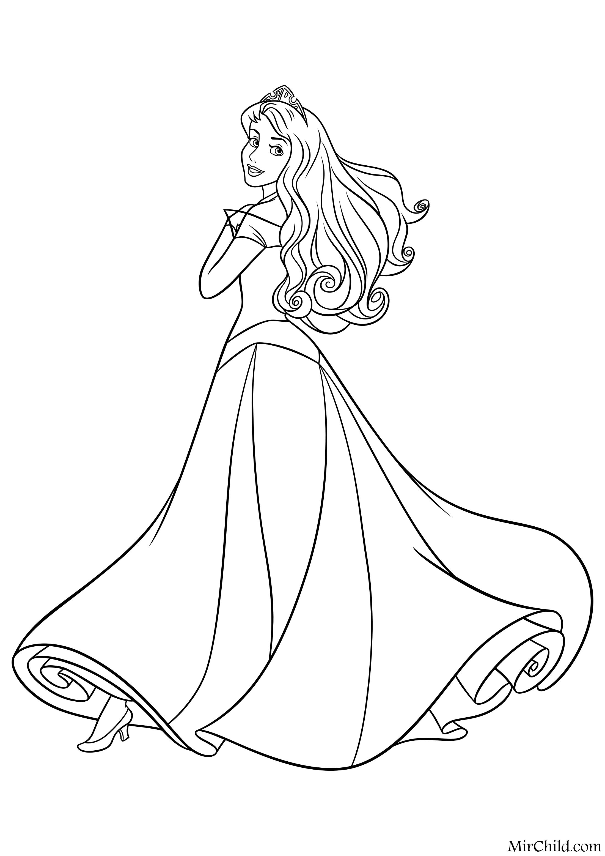 Раскраска - Принцессы Диснея - Аврора с короной | MirChild