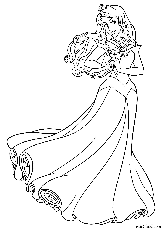 Раскраска - Принцессы Диснея - Аврора с розой | MirChild