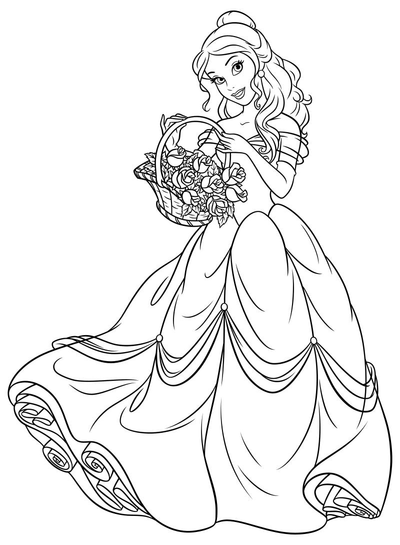 Раскраска - Принцессы Диснея - Белль с корзиной цветов ...