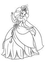 Раскраска - Принцессы Диснея - Тиана танцует в бальном платье