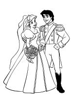 Раскраска - Принцессы Диснея - Принцесса Ариэль и Принц Эрик