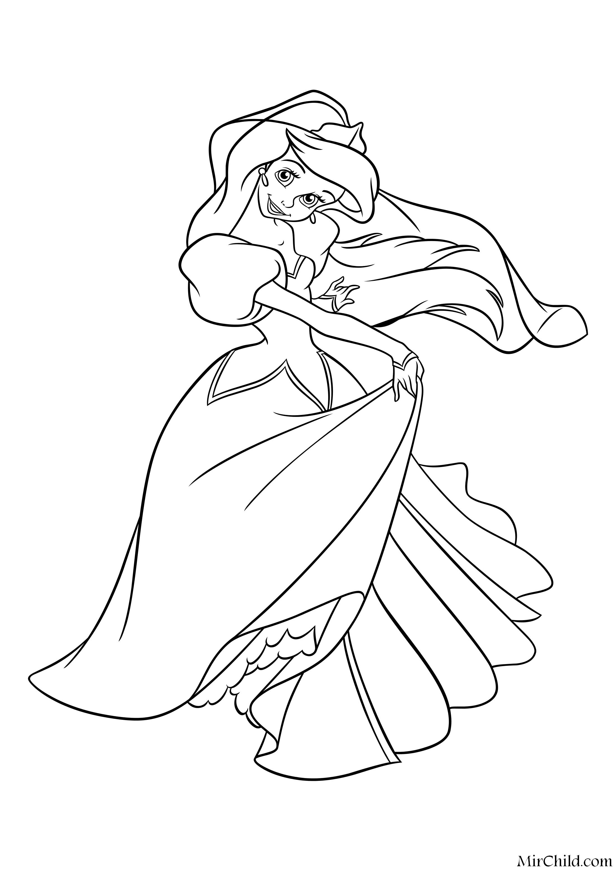 Раскраска - Принцессы Диснея - Принцесса Ариэль танцует в ...