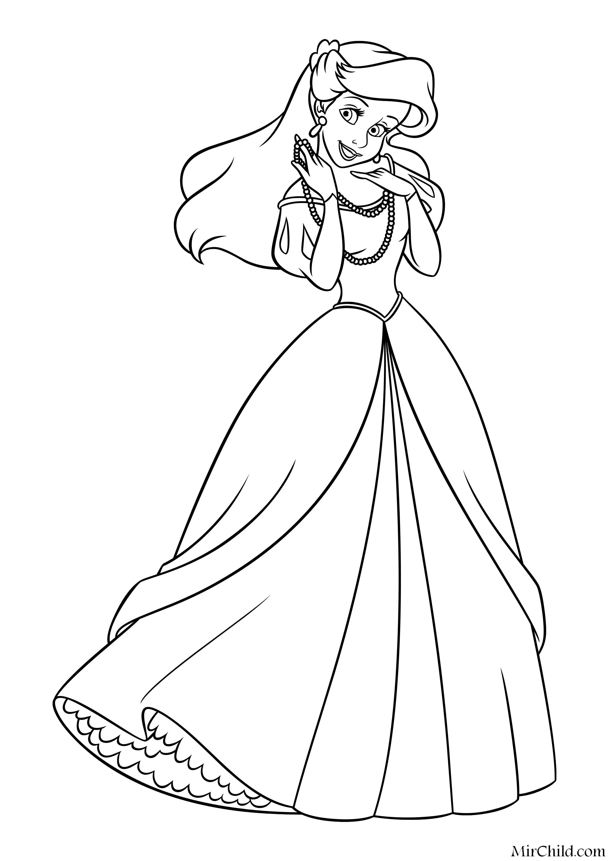 Раскраска - Принцессы Диснея - Милая Принцесса Ариэль в ...