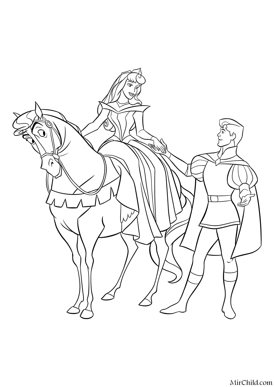 Раскраска - Принцессы Диснея - Принцесса Аврора на коне и ...