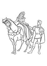 Раскраска - Принцессы Диснея - Принцесса Аврора на коне и Принц Филипп