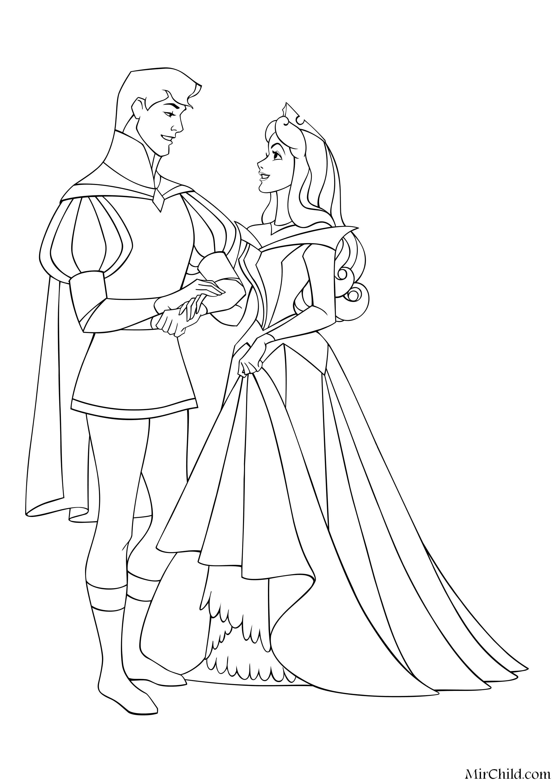 Раскраска - Принцессы Диснея - Принц Филипп и Принцесса ...