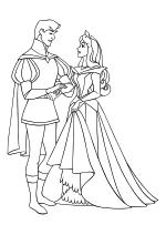 Раскраска - Принцессы Диснея - Принц Филипп и Принцесса Аврора