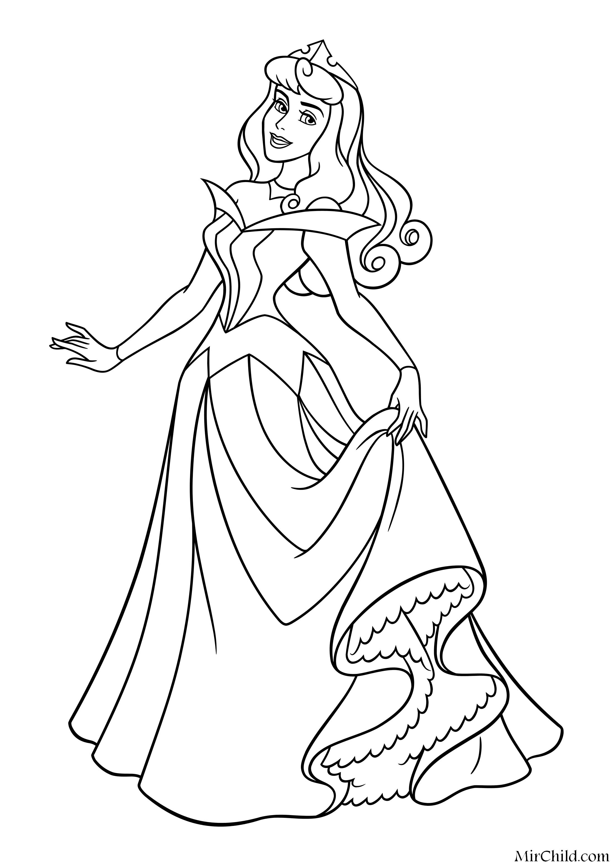 Раскраска - Принцессы Диснея - Принцесса Аврора в бальном ...