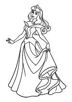 Раскраска - Принцессы Диснея - Принцесса Аврора в бальном платье