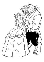Раскраска - Принцессы Диснея - Принцесса Белль танцует с чудовищем