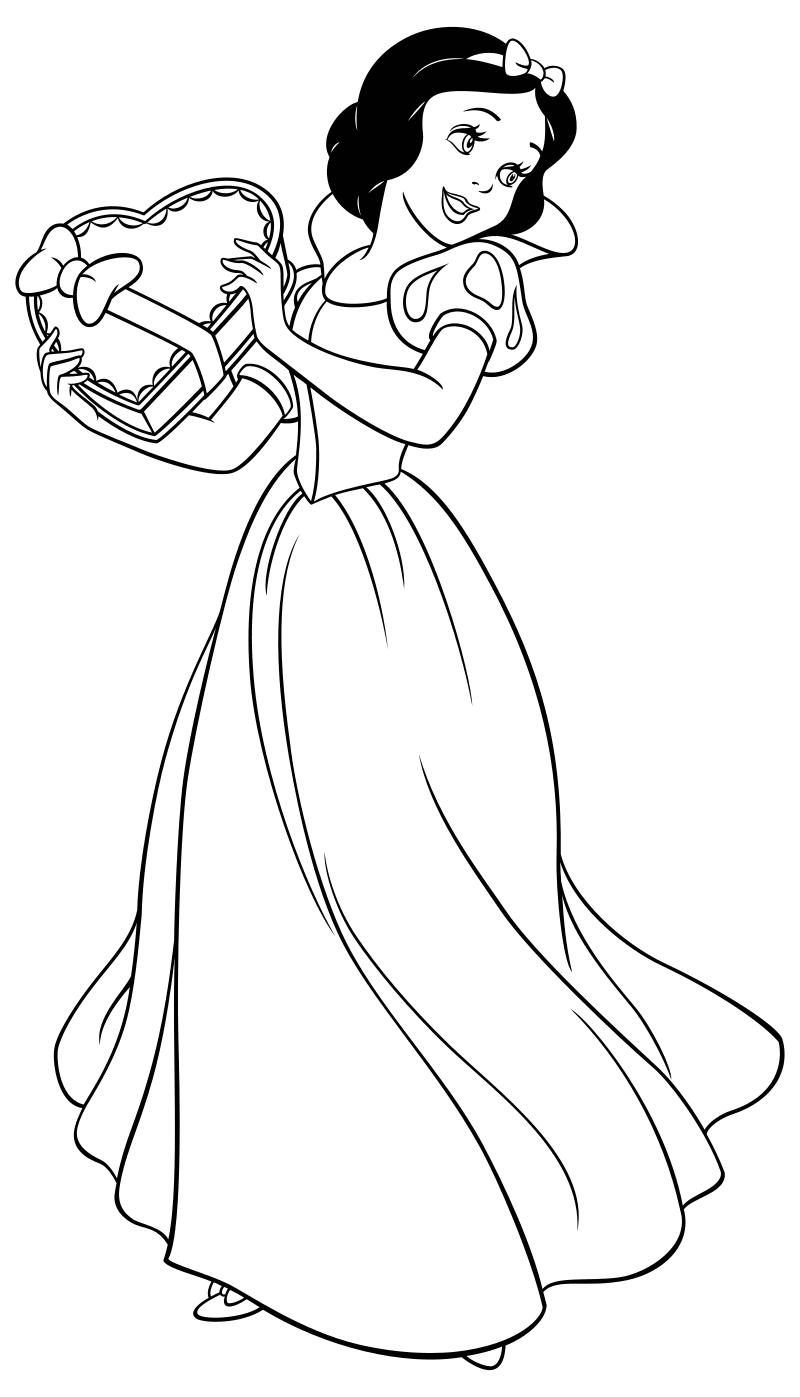 Раскраска - Принцессы Диснея - Белоснежка с коробкой ...