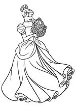 Раскраска - Принцессы Диснея - Золушка с корзиной цветов