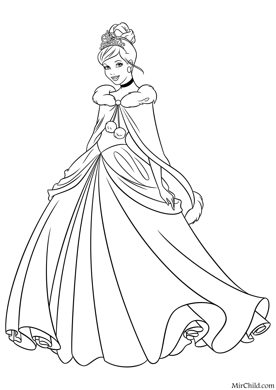 Раскраска - Принцессы Диснея - Золушка в зимнем платье ...