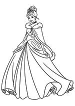 Раскраска - Принцессы Диснея - Золушка в зимнем платье
