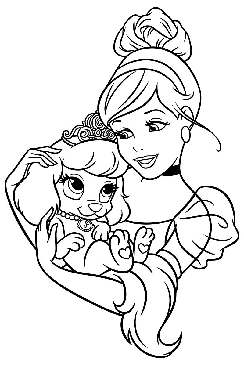 Раскраска - Принцессы Диснея - Золушка и щенок Тыковка ...