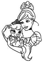 Раскраска - Принцессы Диснея - Золушка и щенок Тыковка