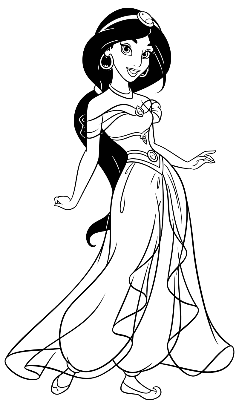 Раскраска - Принцессы Диснея - Жасмин | MirChild