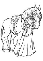 Раскраска - Принцессы Диснея - Мерида и Ангус - друзья