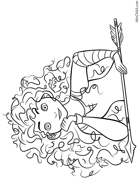 Раскраска - Принцессы Диснея - Мерида со стрелой | MirChild