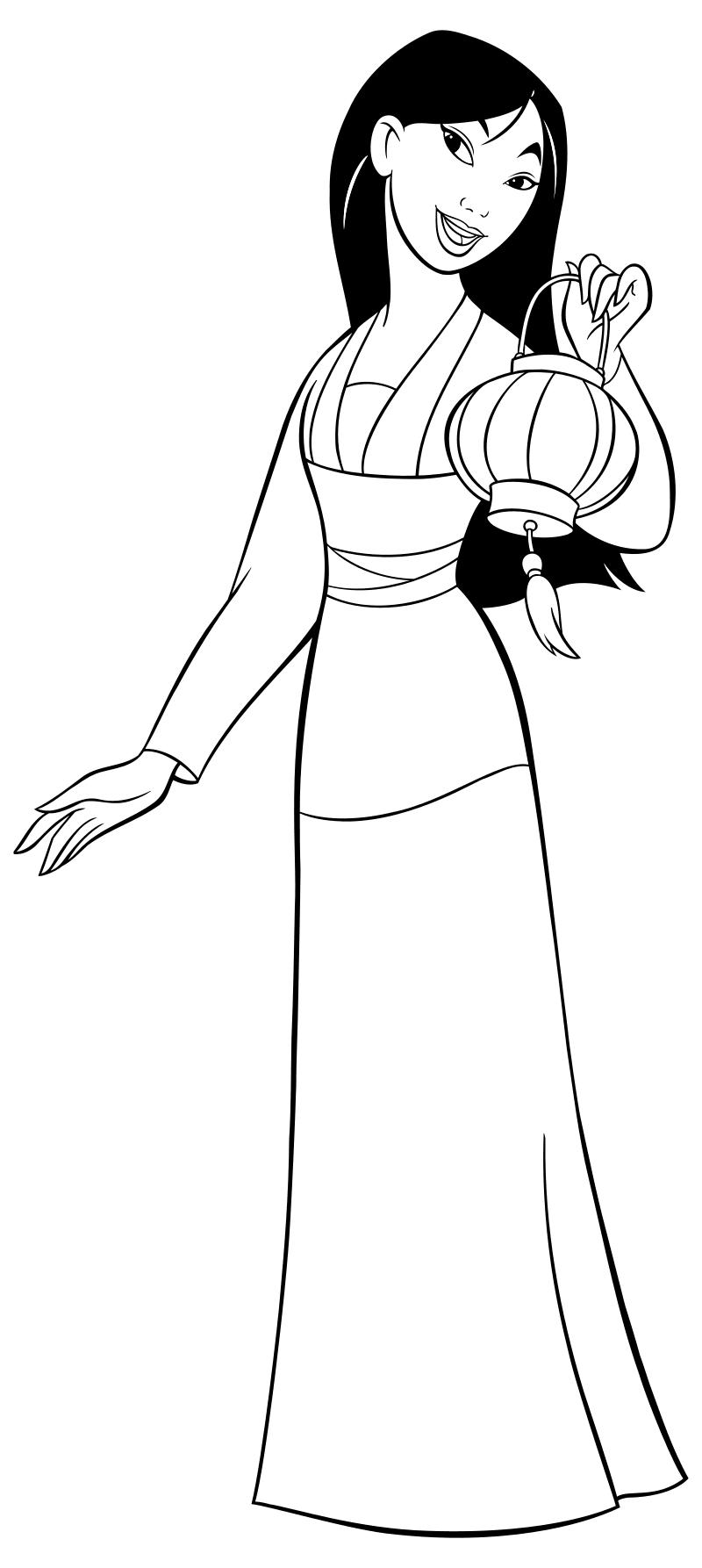 Раскраска - Принцессы Диснея - Мулан с фонарём | MirChild