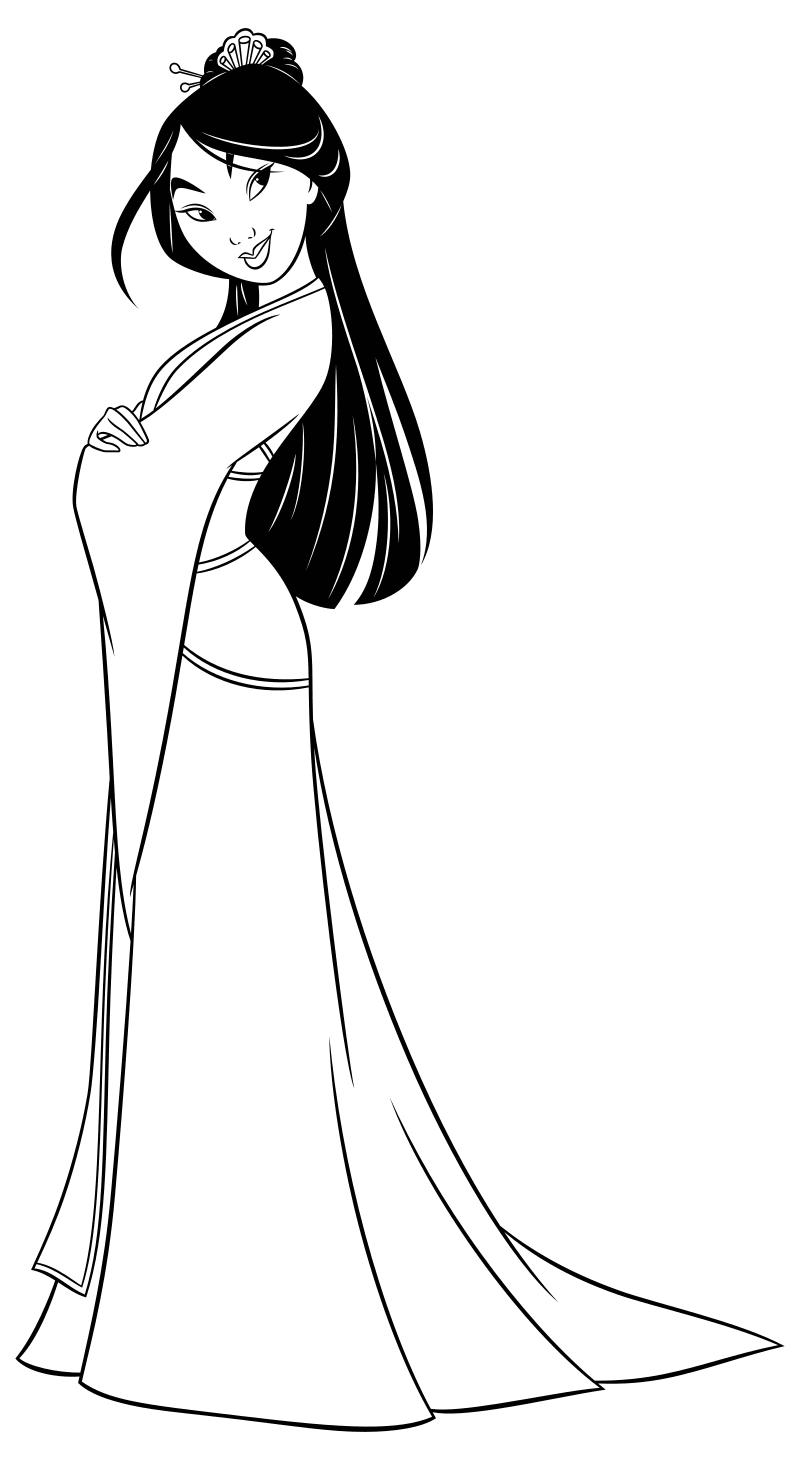 Раскраска - Принцессы Диснея - Принцесса Мулан | MirChild