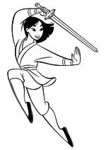 Раскраска - Принцессы Диснея - Мулан упражняется с мечом