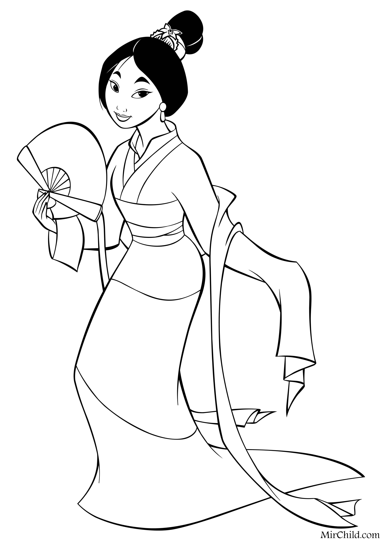 Раскраска - Принцессы Диснея - Мулан с веером | MirChild