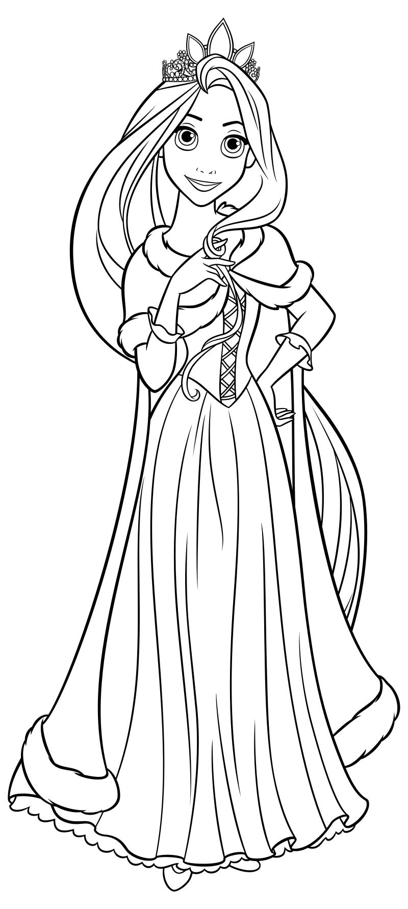 Раскраска - Принцессы Диснея - Рапунцель с короной | MirChild