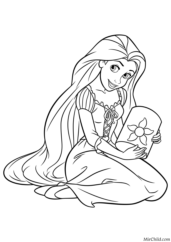 Раскраска - Принцессы Диснея - Рапунцель и фонарь | MirChild